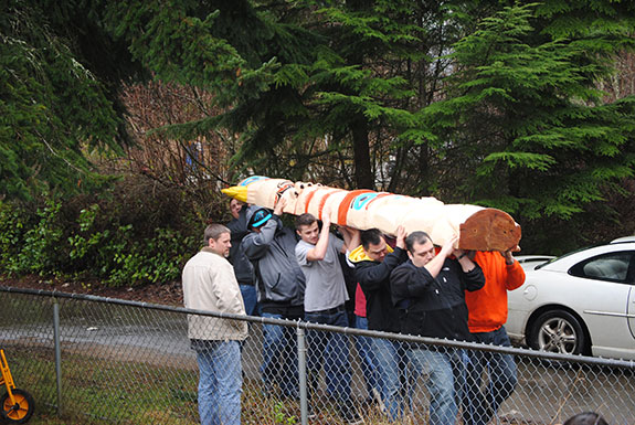 Carrying Pole to Early Childhood Education Center