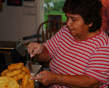 Sharon Ives cooking her fry bread