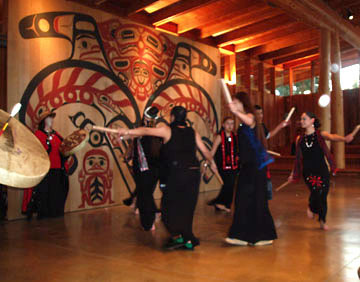 S'Klallam dancers performing at the longhouse.